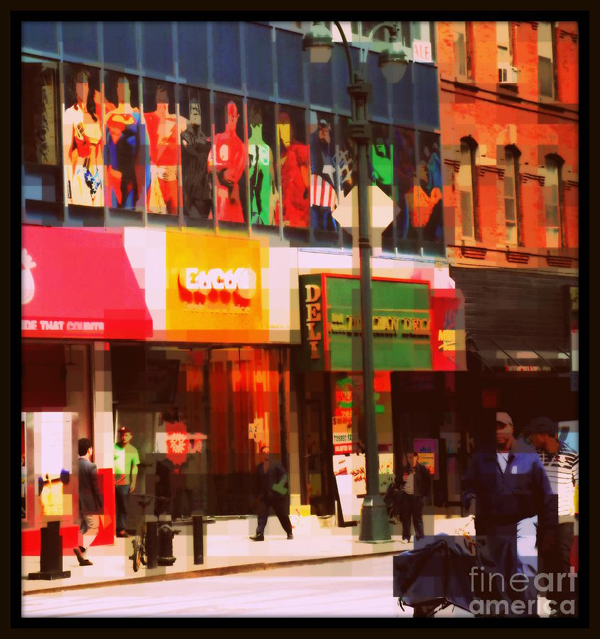 Street Sign Photograph - Superheroes Of New York - Midtown In Gotham City by Miriam Danar