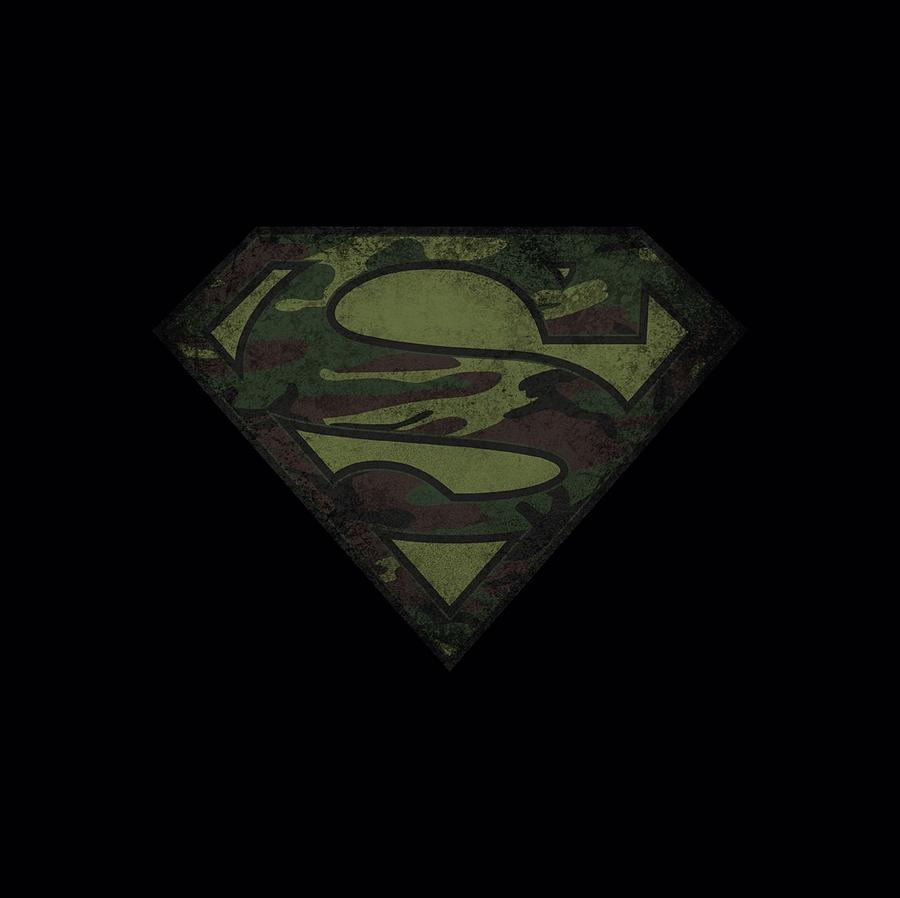 Superman Digital Art - Superman - Camo Logo Distressed by Brand A