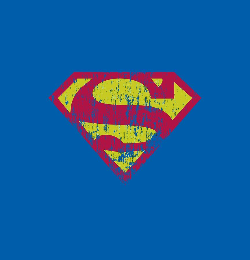 Superman Digital Art - Superman - Classic Logo Distressed by Brand A