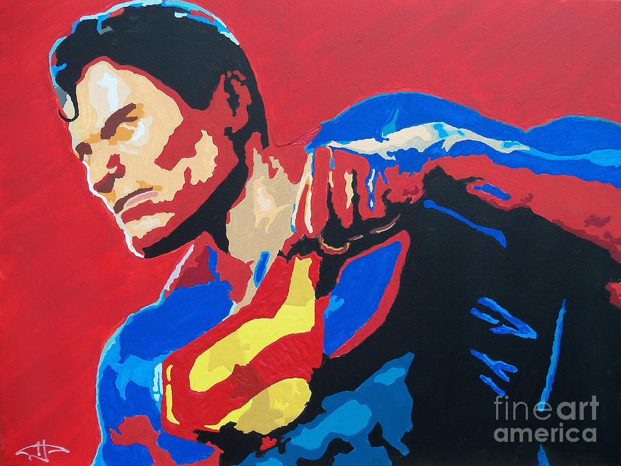 Superman Painting - Superman - Red Sky by Kelly Hartman