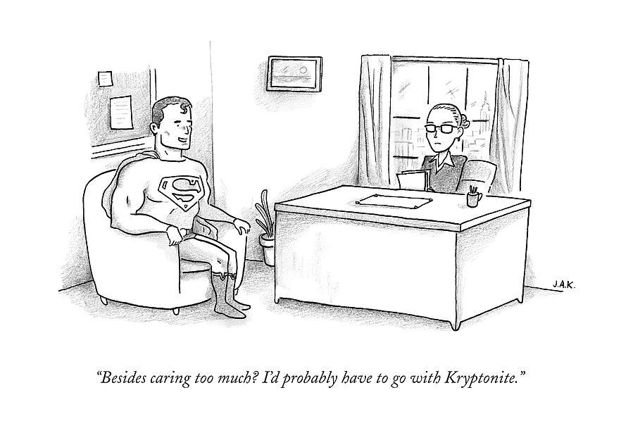 Superman Sits At A Job Interview Drawing by Jason Adam Katzenstein