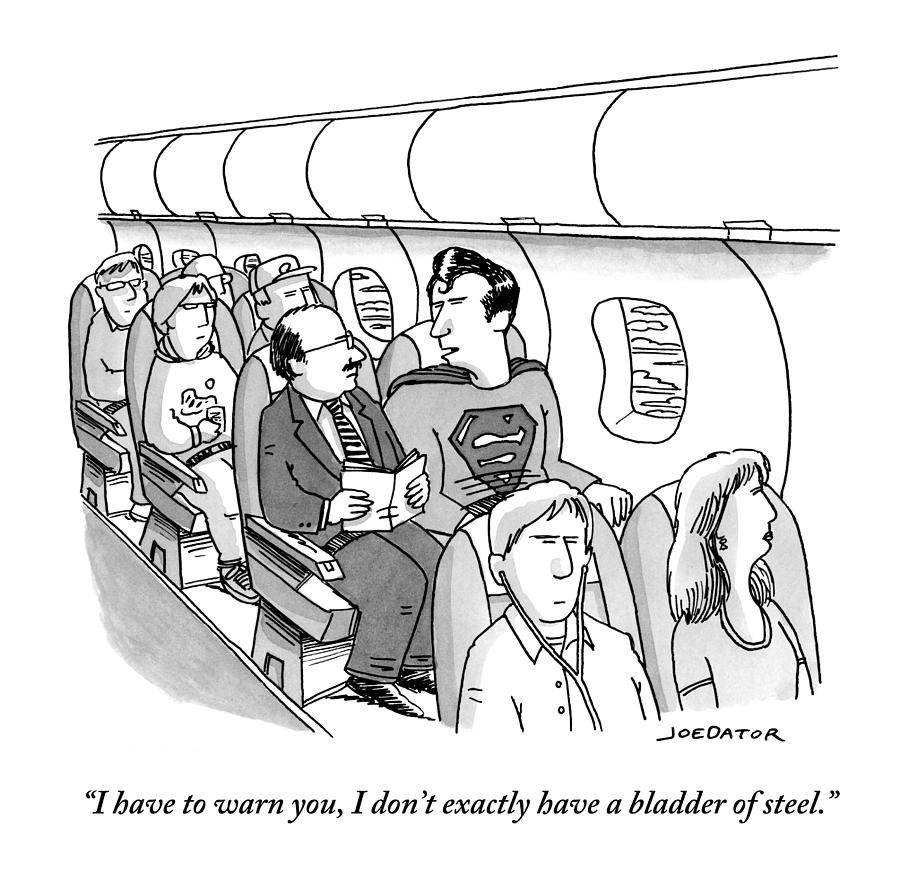 Superman Sits In A Plane Next To A Businessman Drawing by Joe Dator
