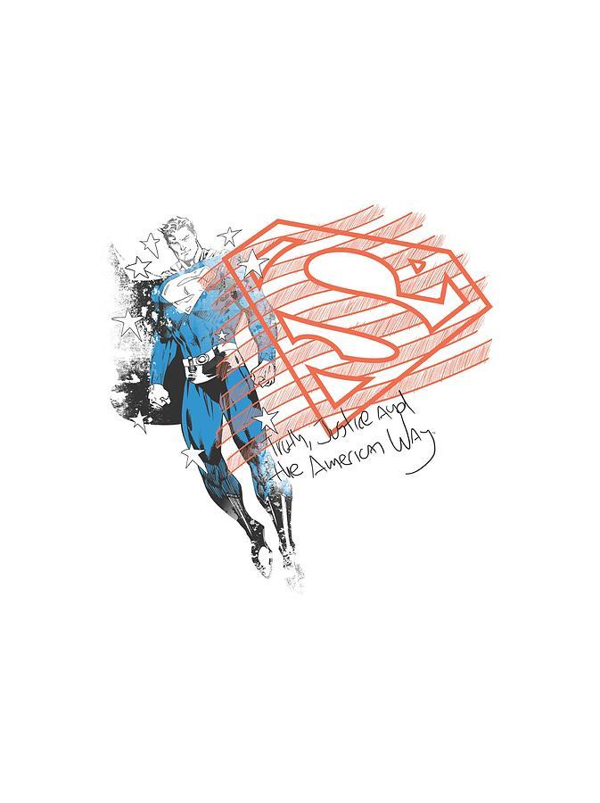 Superman Digital Art - Superman - Super American Flag by Brand A