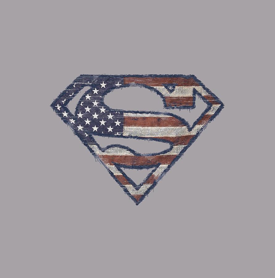 Superman Digital Art - Superman - Wartorn Flag by Brand A
