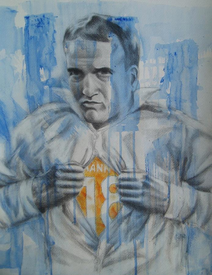 Peyton Manning Drawing - Supermanning by Joanna Gates