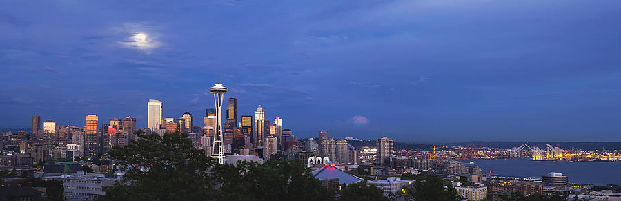 Seattle Photograph - Supermoon Moonrise Over Seattle Skyline by David Gn
