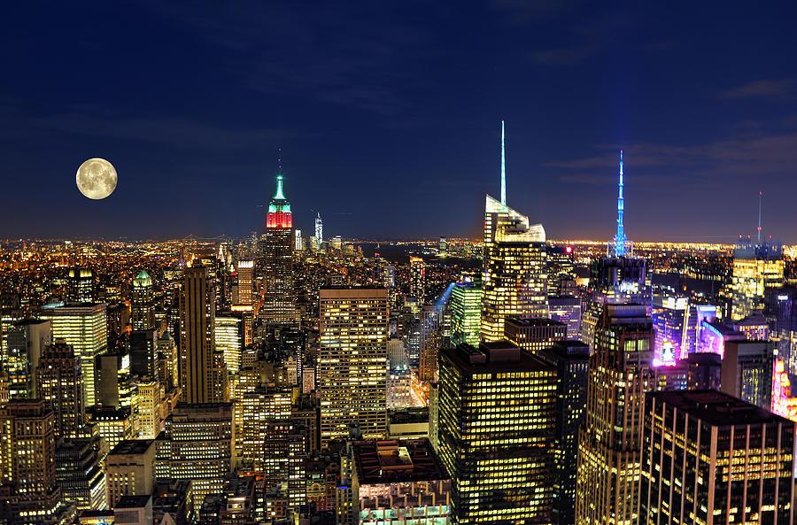 Supermoon Photograph - Supermoon Over Manhattan by Lee Dos Santos