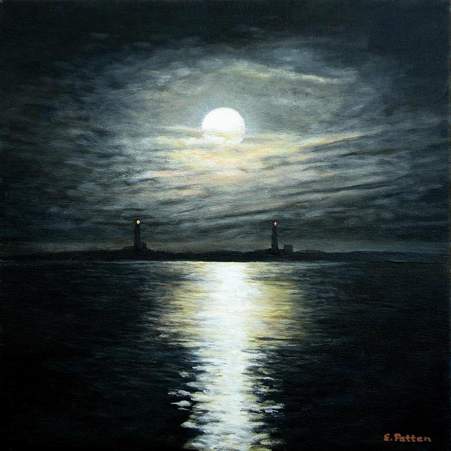 Moon Painting - Supermoon Rising Over Thacher Island by Eileen Patten Oliver