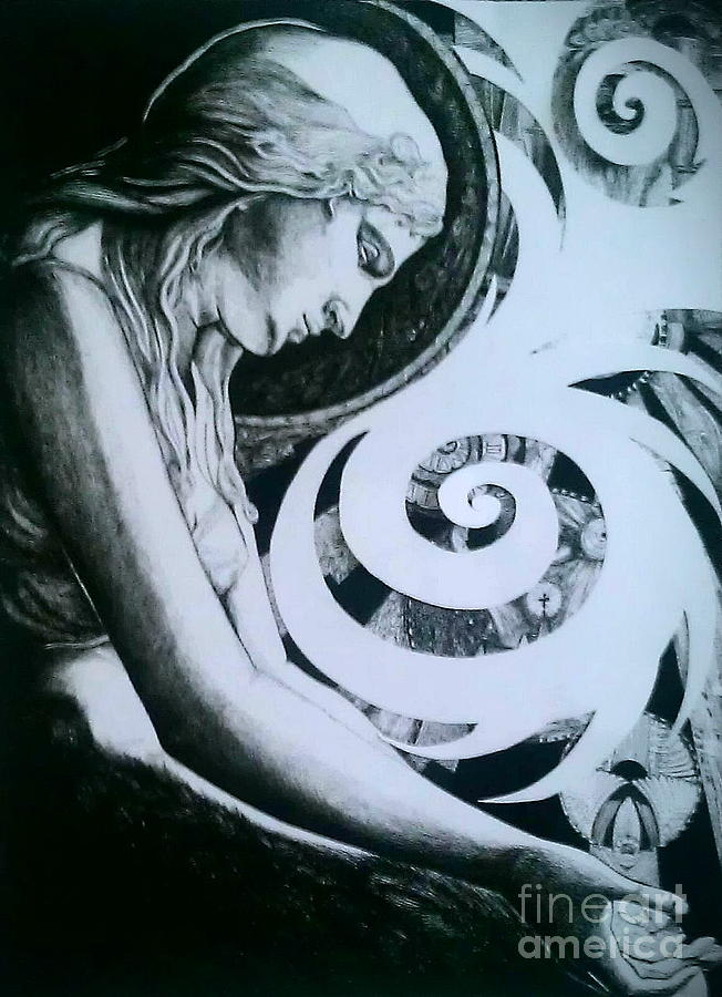 Black And White Drawing - Supernatural by Ottilia Zakany