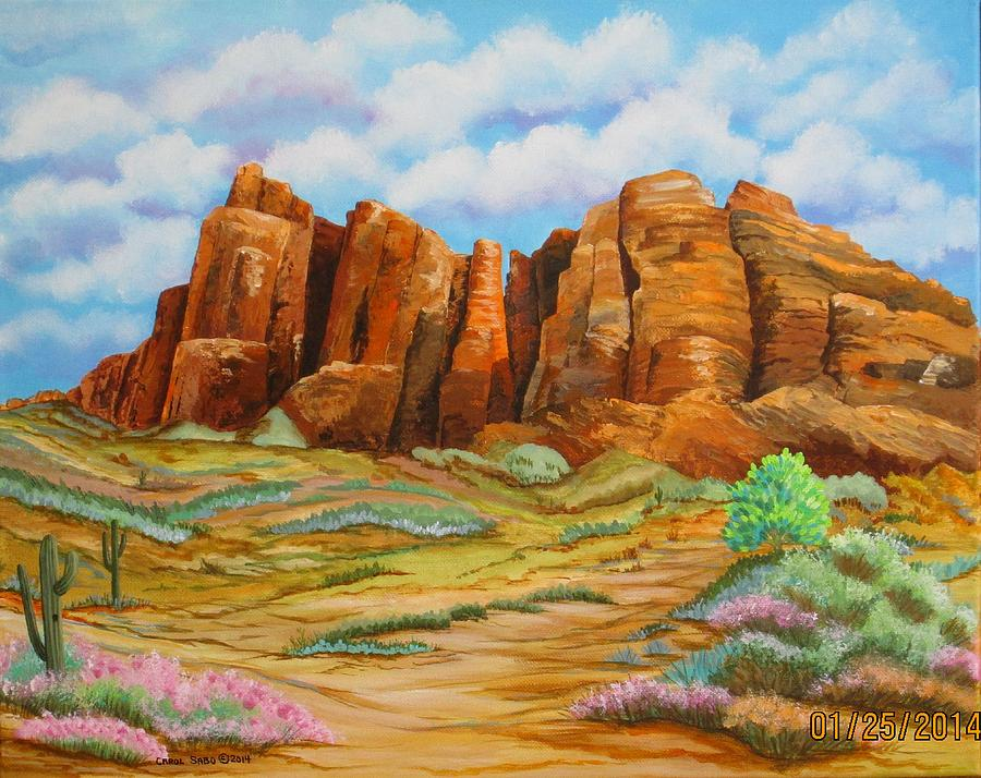 Superstition Mountains Arizona Painting By Carol Sabo