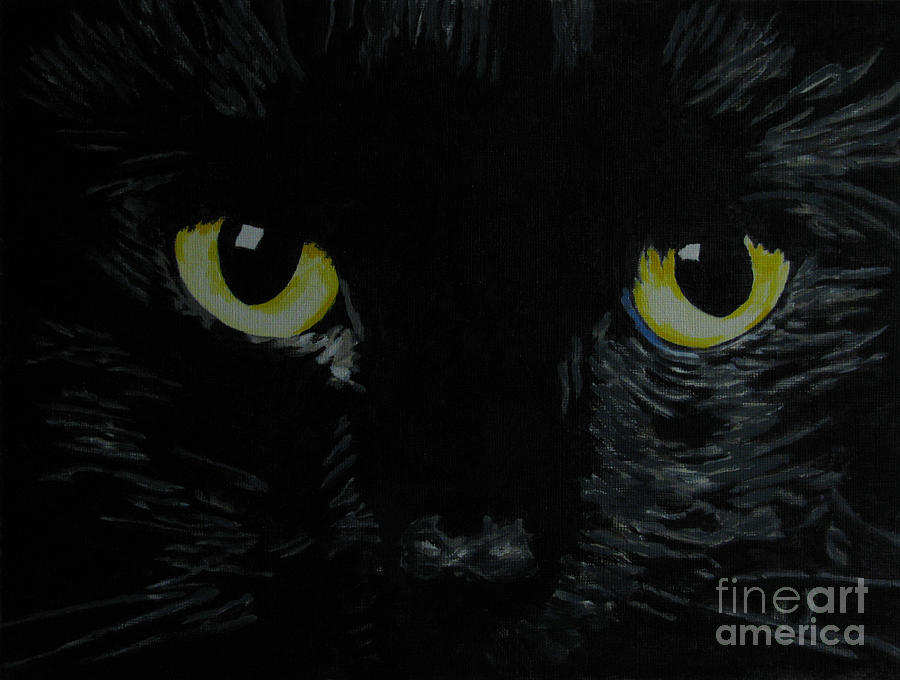Cat Painting - Superstitious Eyes by Nancie Johnson