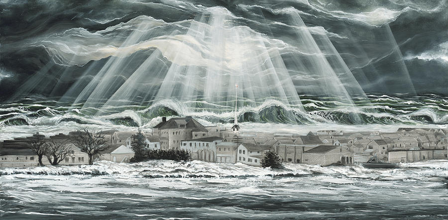 Super Storm Sandy Painting - Superstorm Sandy Sea Bright Nj by Ronnie Jackson