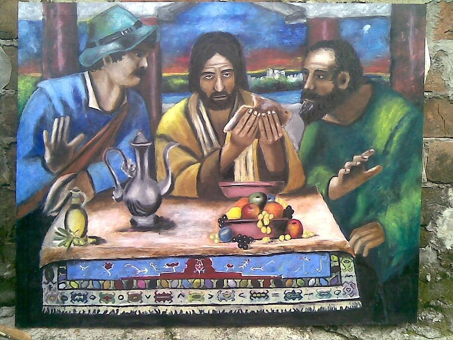 Religion Painting - Supper At Emmaus by Lazar Caran