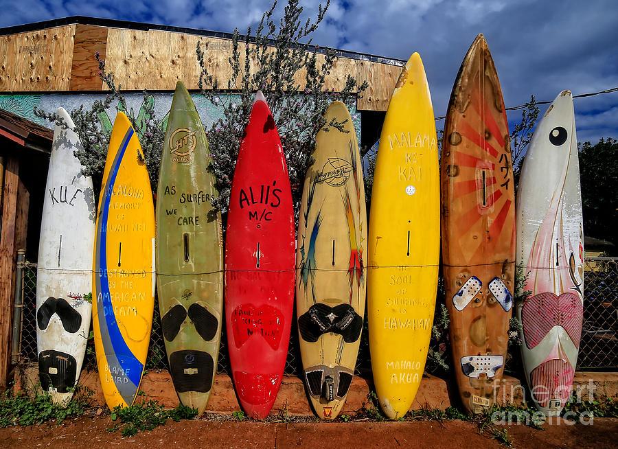 Surf Photograph - Surf Board Fence Maui Hawaii by Edward Fielding