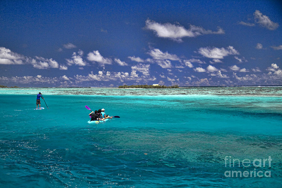 Moorea Photograph - Surf Board Paddling In Moorea by David Smith