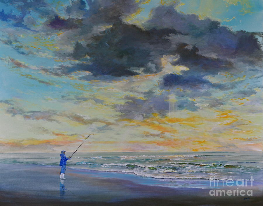 Vacations Painting - Surf Fishing by AnnaJo Vahle