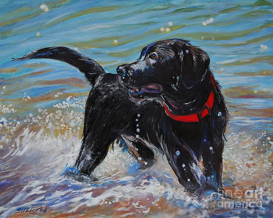 Black Labrador Retriever Puppy Painting - Surf Pup by Molly Poole