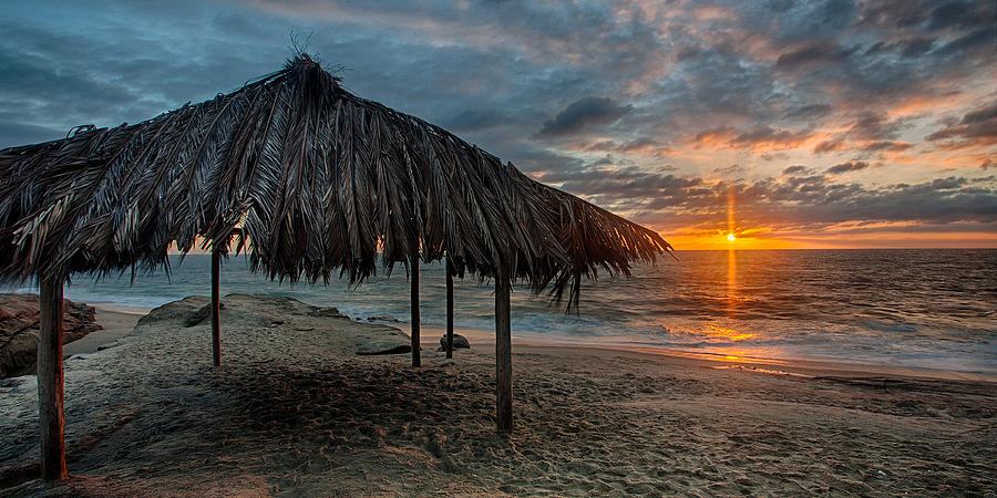 Beach Photograph - Surf Shack At Sunset - Wide Format by Peter Tellone