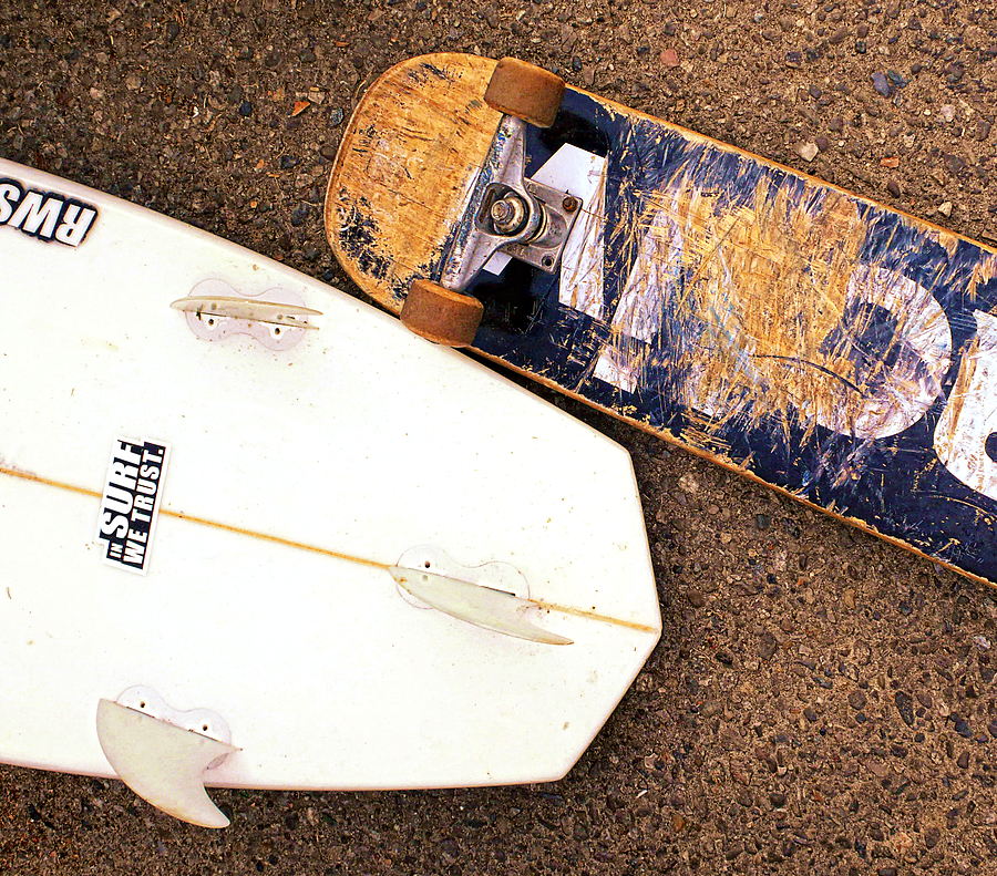 Surf Photograph - Surf Skate Fins And Wheels by Ron Regalado