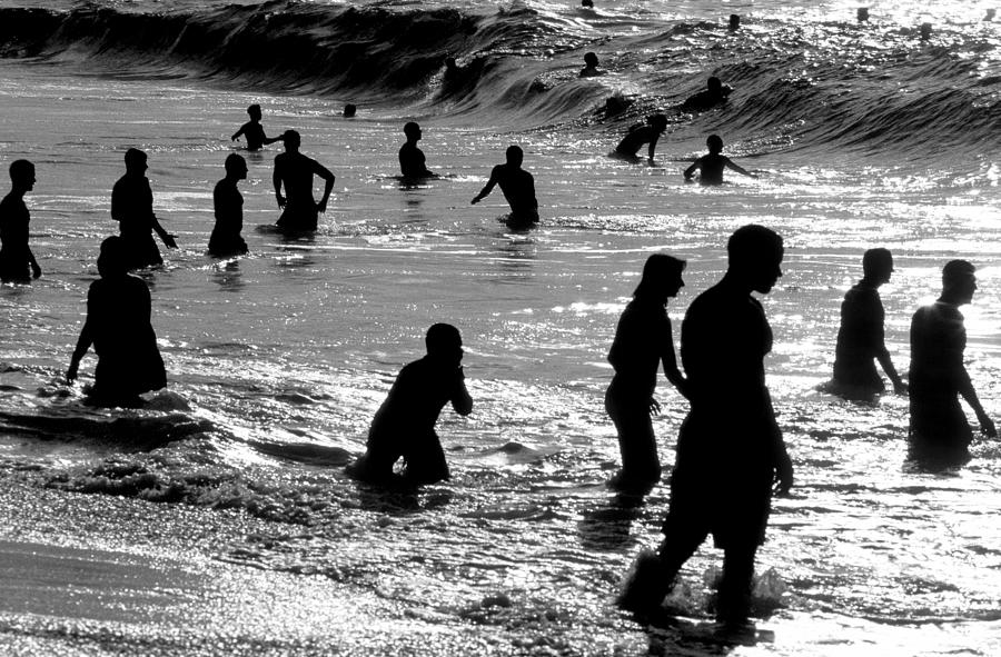 Silhouette Photograph - Surf Swimmers by Sean Davey
