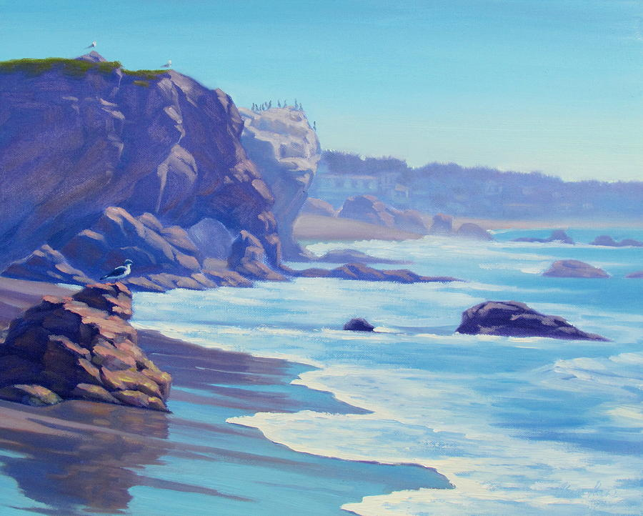 Landscape Painting - Surf Watchers by Elena Roche