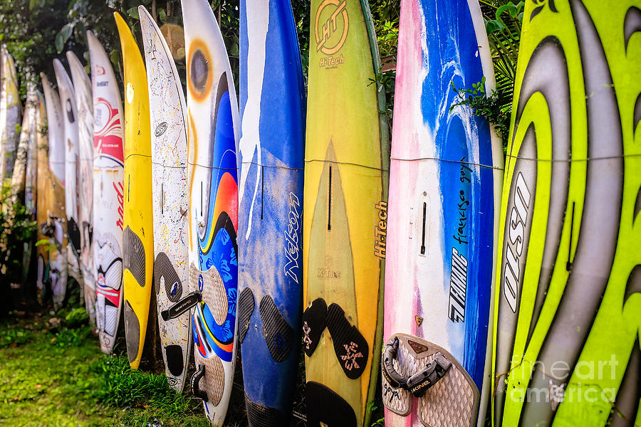 Surfboard Fence Maui Hawaii by Edward Fielding