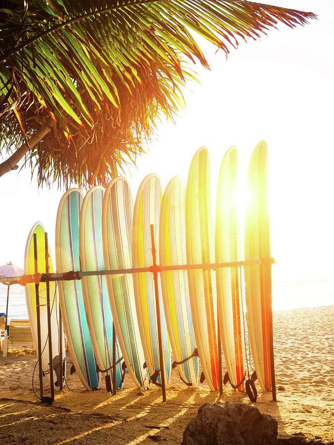 Surfboards At Ocean Beach Photograph by Arand