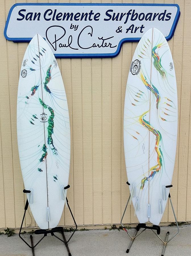 Surfboards In San Clemente Painting by Paul Carter