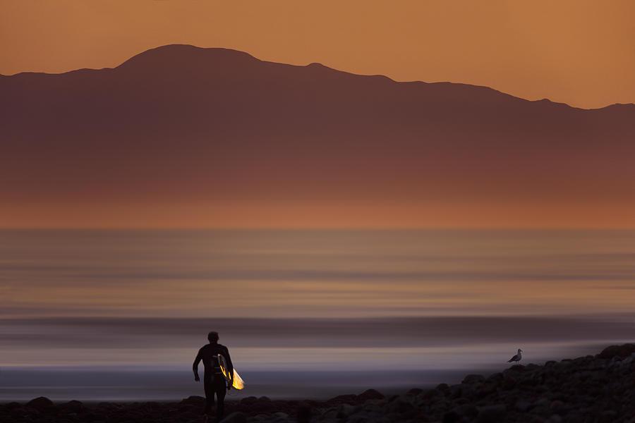Orias Photograph - Surfer Approaching Rincon MG_9505 by David Orias