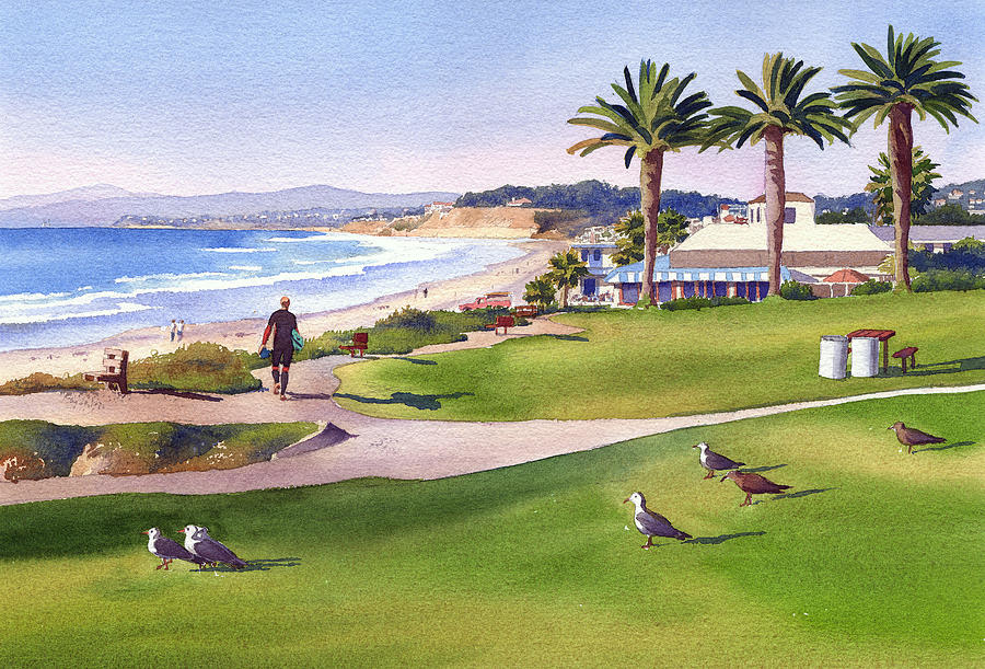 Surfer Painting - Surfer at Tres Palms Del Mar by Mary Helmreich