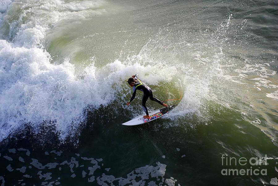 Surfer Boy Photograph - Surfer Boy Riding A Wave by Catherine Sherman