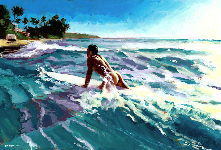 Surfer Painting - Surfer Coming In by Douglas Simonson