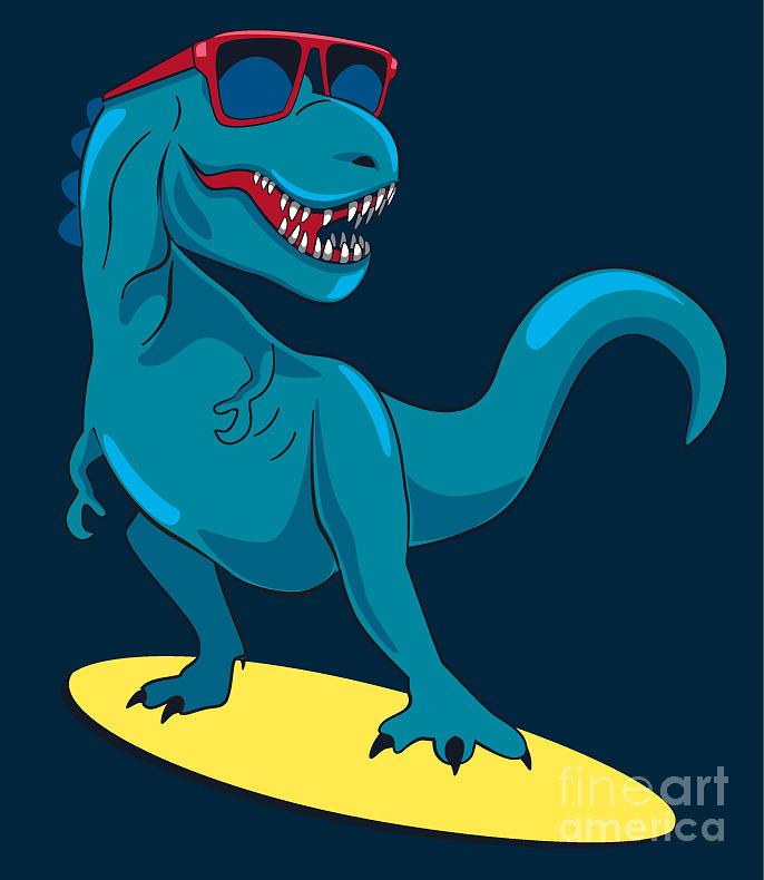 Raptor Digital Art - Surfer, Dinosaur, Monster Vector Design by Braingraph