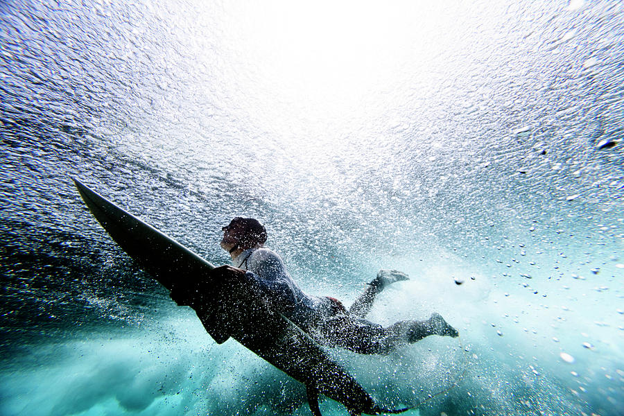 Surfer Duck Diving Photograph by Subman