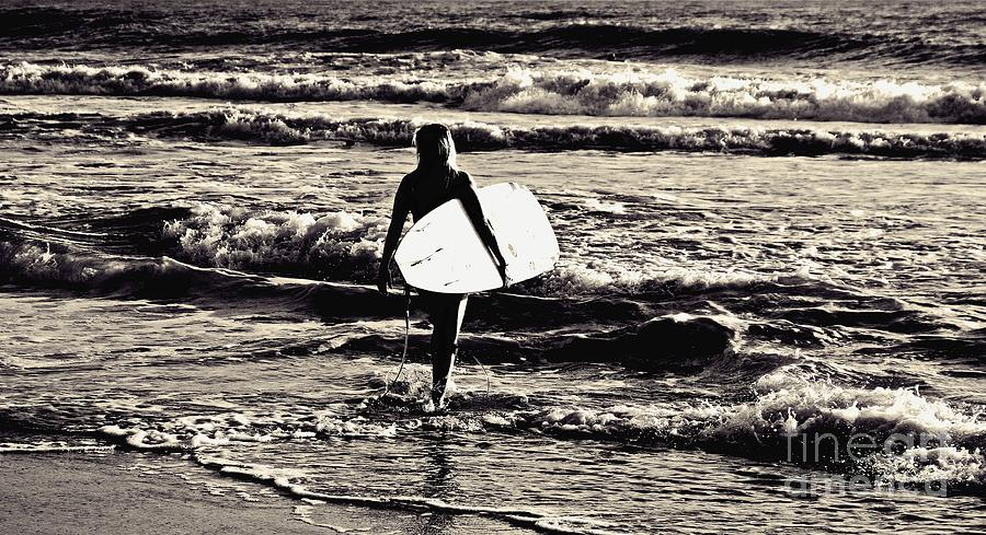 Waves Photograph - Surfer Girl by Scott Allison