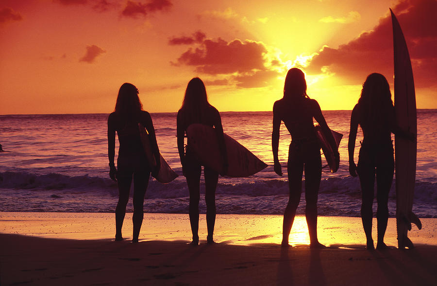 Surfer Photograph - Surfer girl silhouettes by Sean Davey