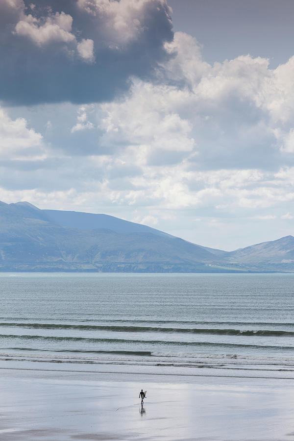 Vertical Photograph - Surfer On The Beach, Inch Strand by Panoramic Images