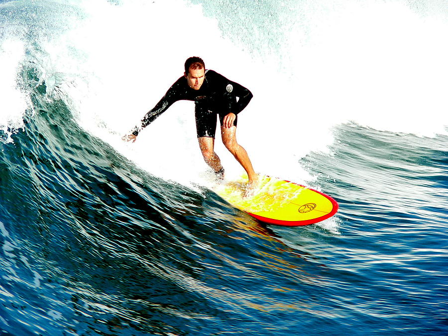 Surfer Photograph - Surfer Riding Wave by Jeff Lowe