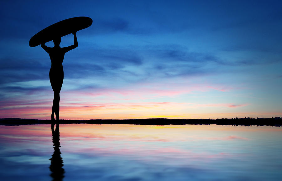 Active Photograph - Surfer Silhouette by Aged Pixel