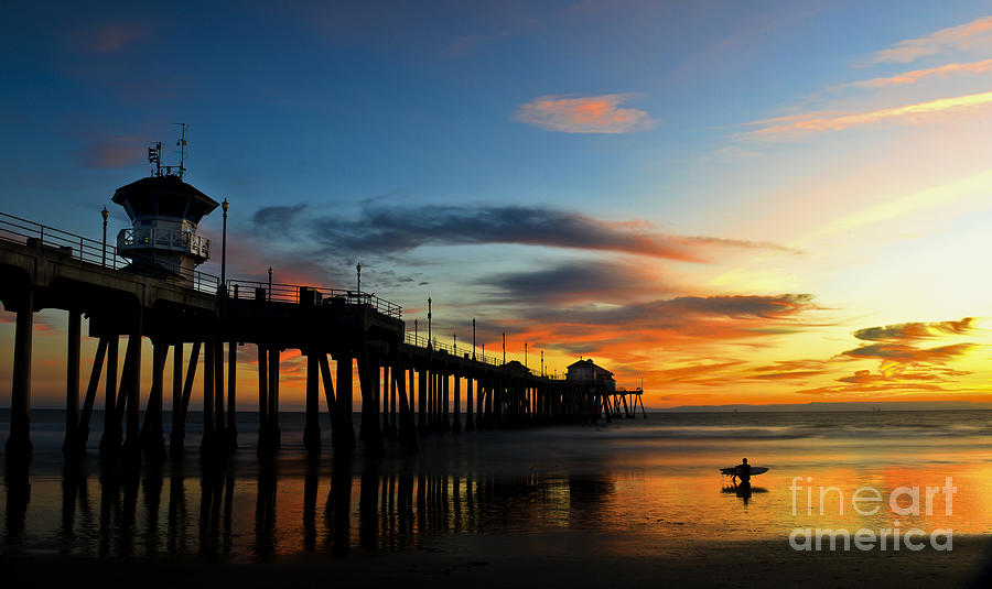 Beach Photograph - Surfer Watching The Sunset by Peter Dang