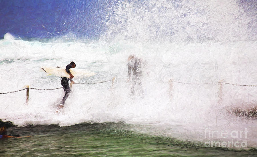 Surf Photograph - Surfers at rockpool by Sheila Smart Fine Art Photography