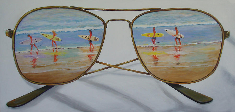 Beach Painting - Surfers by Brenda Gordon