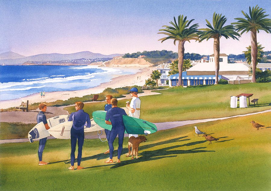 Race Track Wall Art >> Surfers Gathering At Del Mar Beach Painting by Mary Helmreich