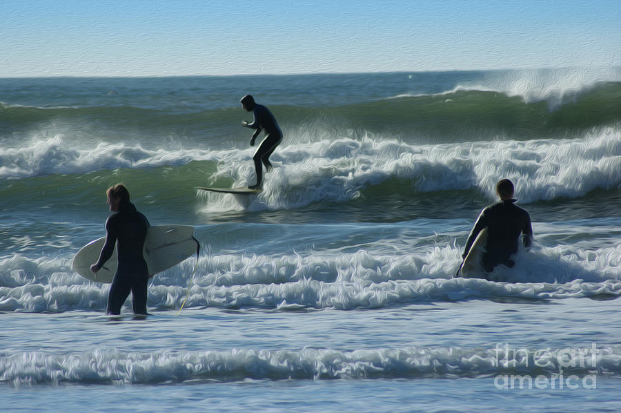 Surfing Digital Art - Surfers by Nur Roy