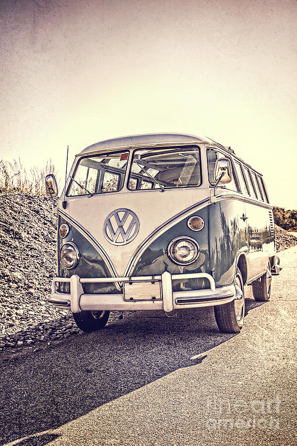 Surfer Photograph - Surfers Vintage VW Samba Bus at the beach by Edward Fielding