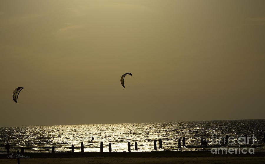 Surfing Photograph - Surfing At Sunset 02 by Arik Baltinester