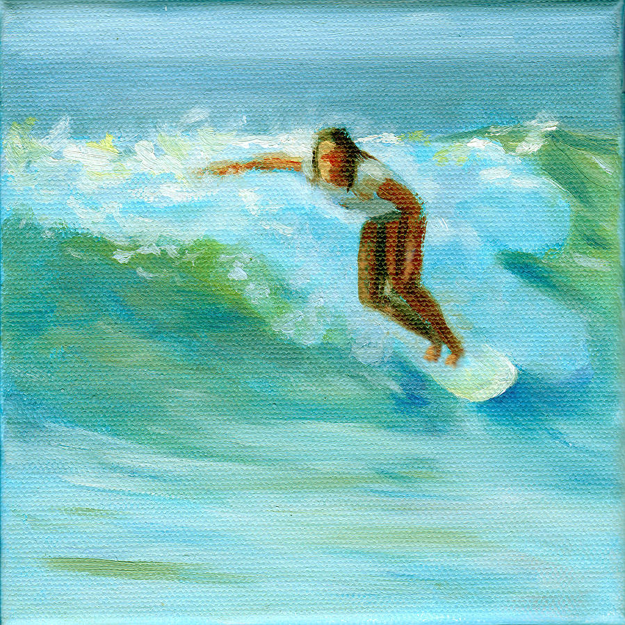 Surfing Painting by Beth Johnston