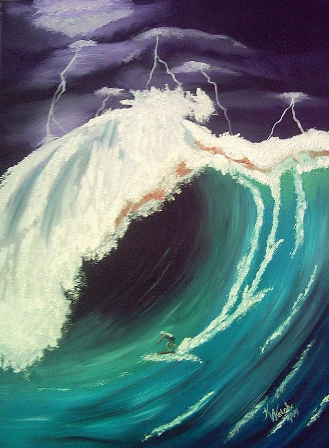 Waves Painting - Surfing Dare Devil  by Kathern Welsh