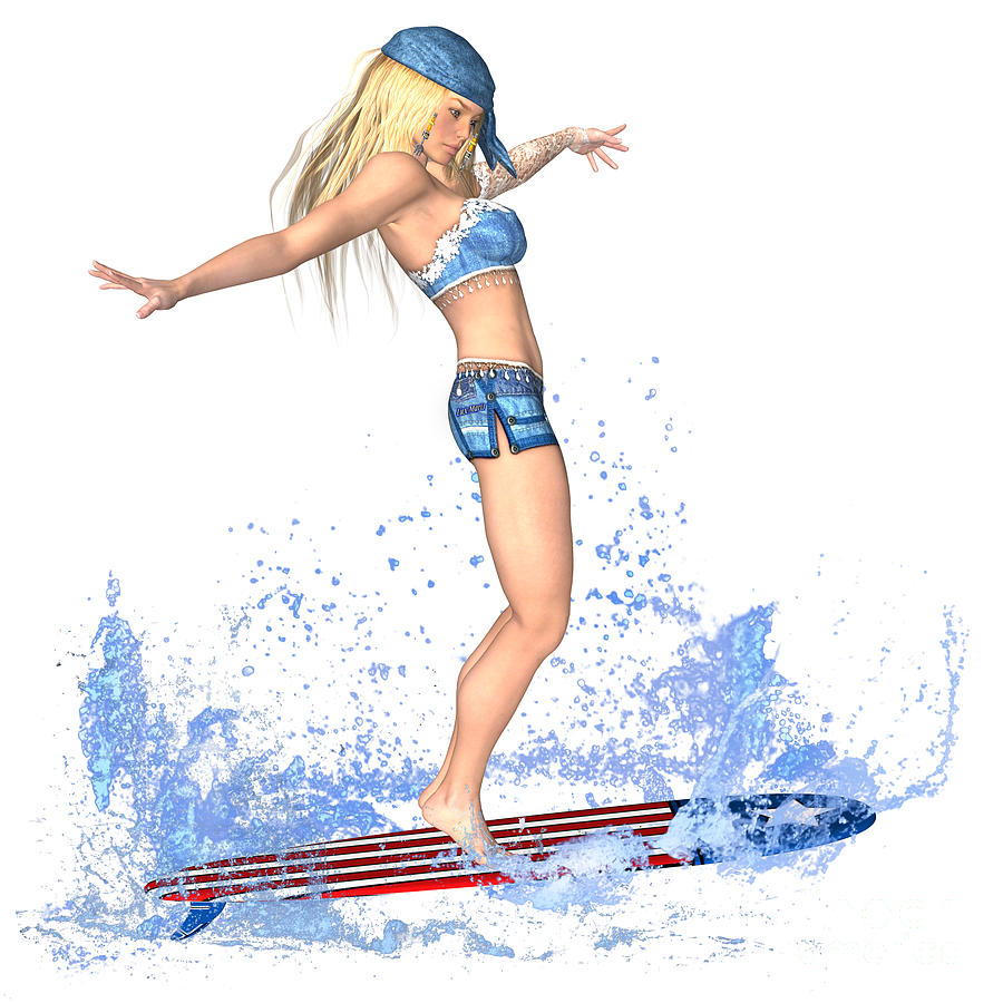 Surfing Painting - Surfing Girl by Renate Janssen