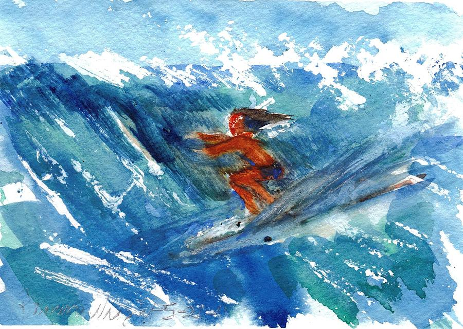 Surfer Painting - Surfing I by Ramona Wright